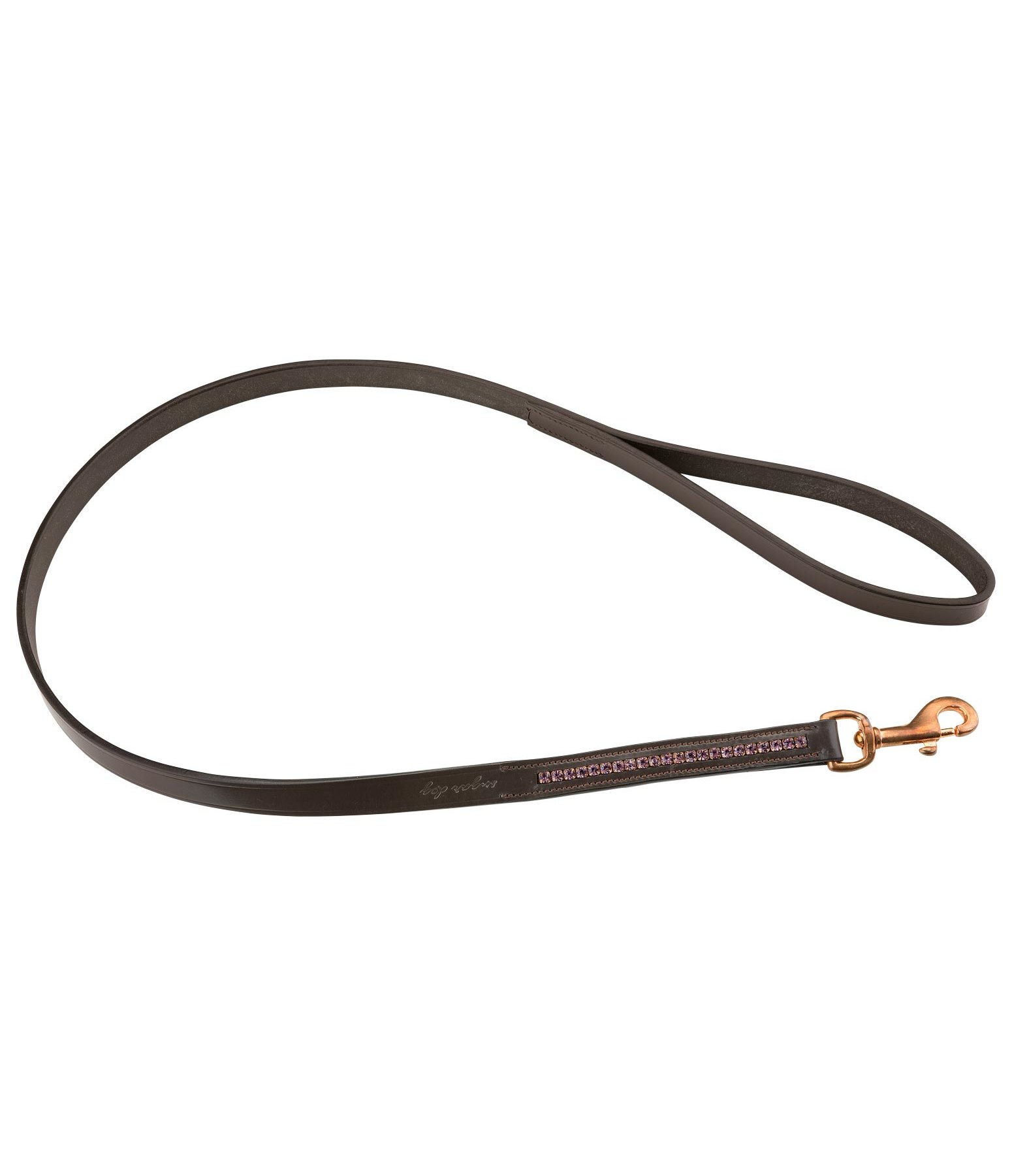 Leather Dog Lead Crystal Rose