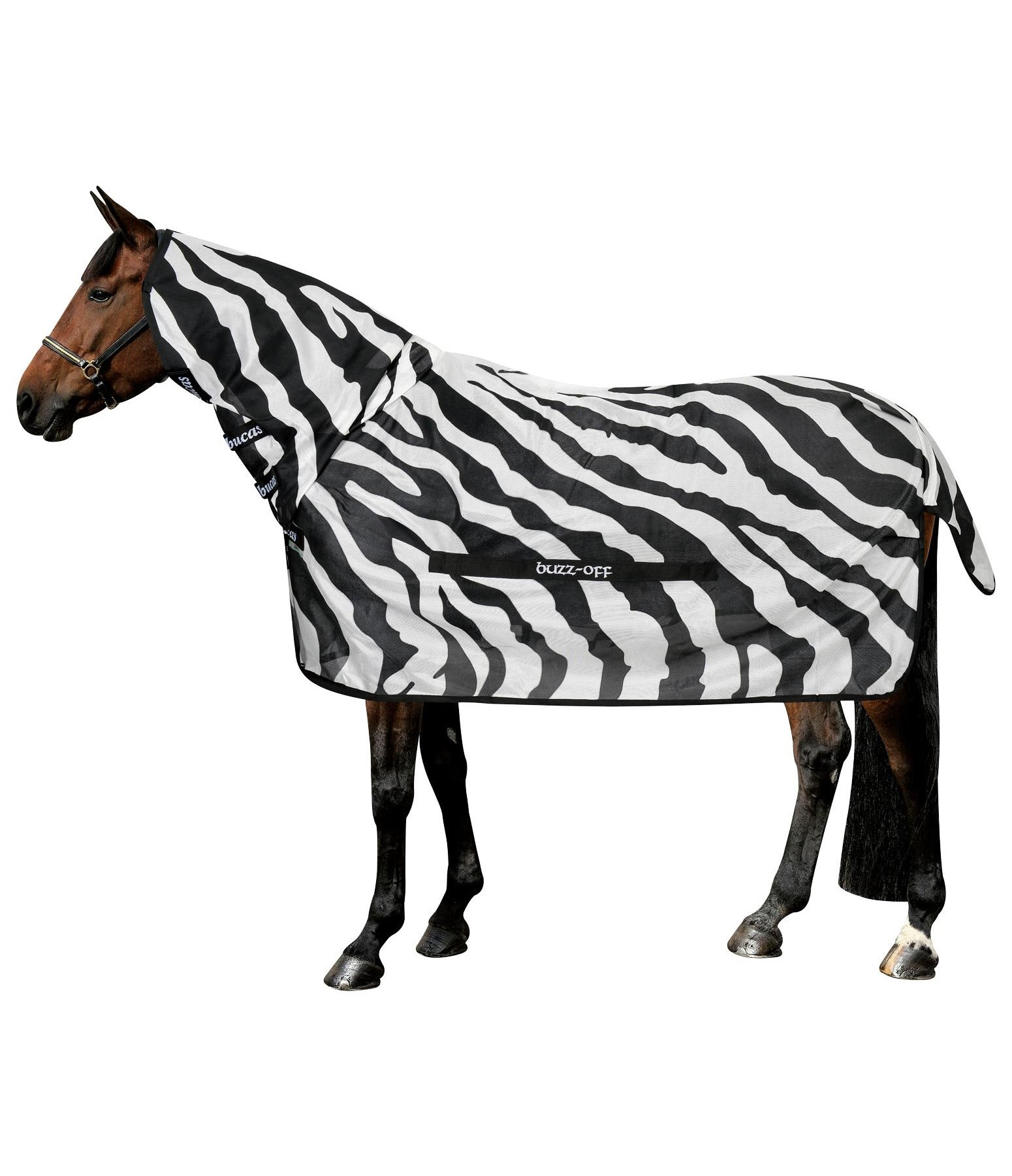 Buzz-Off Full Neck Fly Rug Zebra, UV 70+