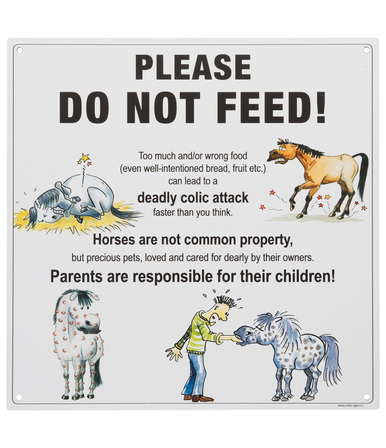 Comic Stable Sign Do not feed