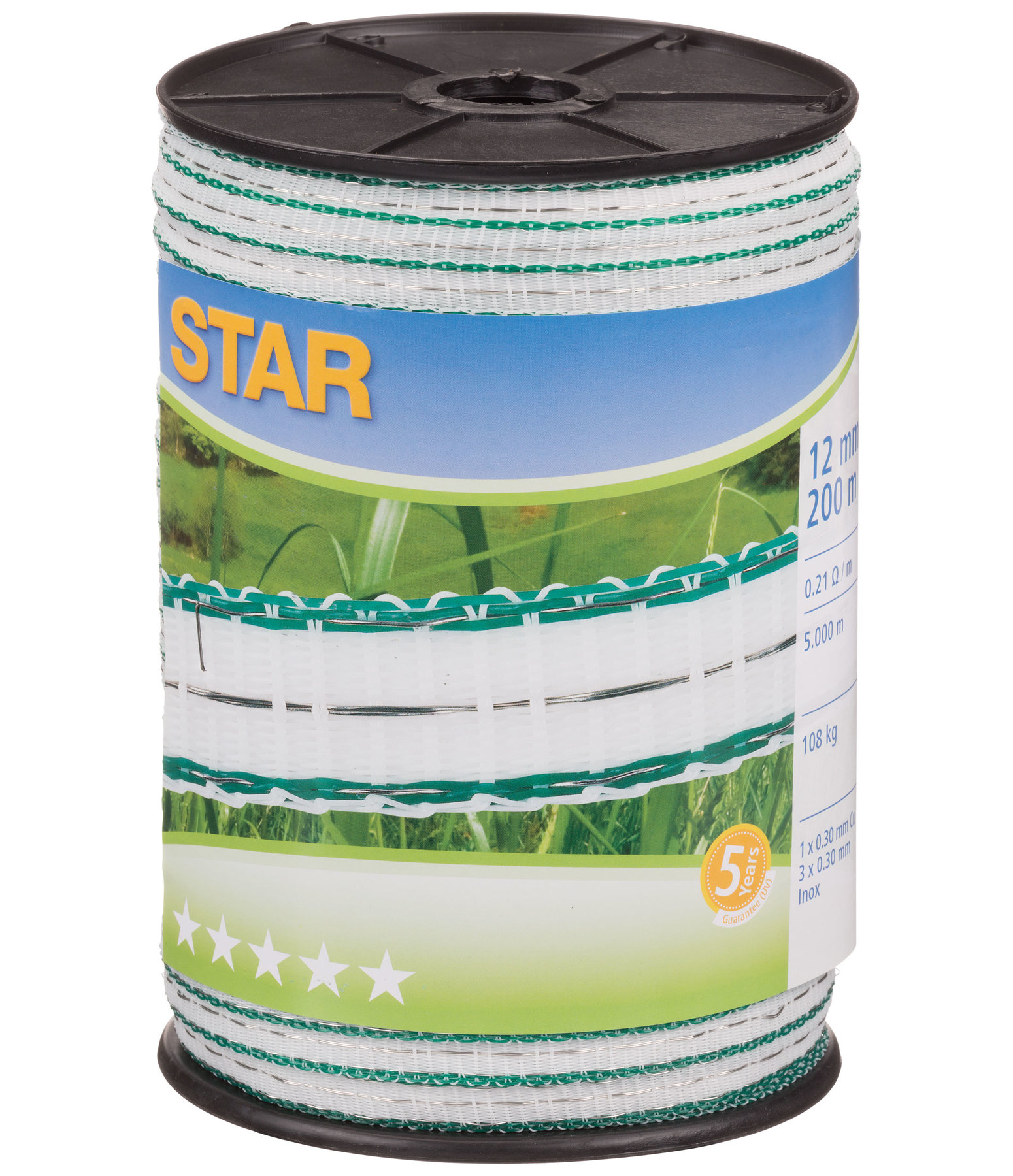 Electric Fence Tape Star Class DeLuxe 12mm - 200m Roll