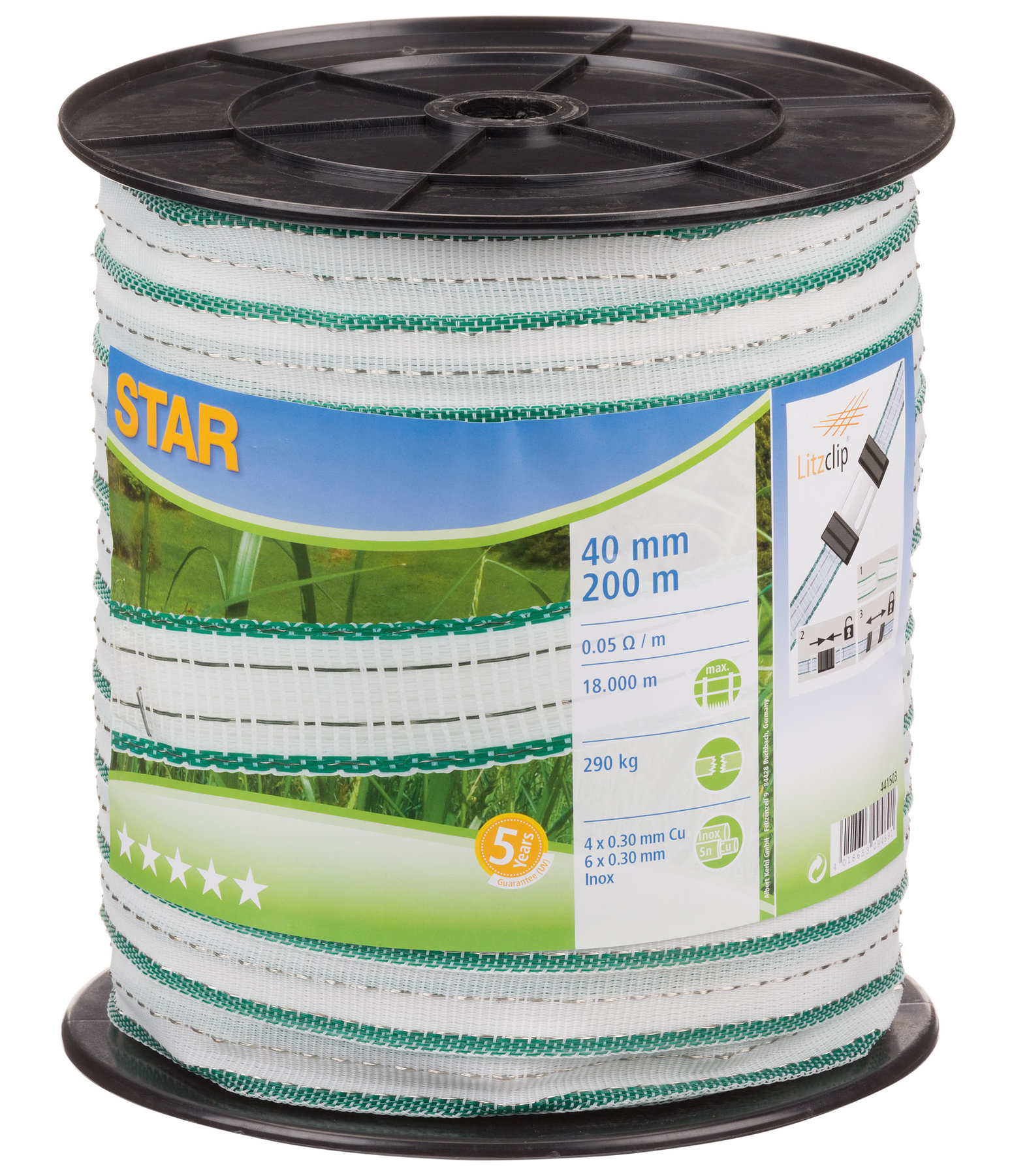 Electric Fence Tape Star Class DeLuxe 40mm - 200m Roll