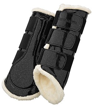 SHOWMASTER Teddy Fleece Dressage Boots Moonlight, hind legs - 530671-F-S